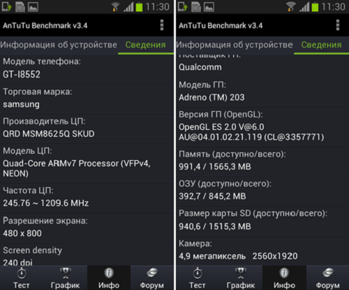 Тест Samsung I8552 Galaxy Win