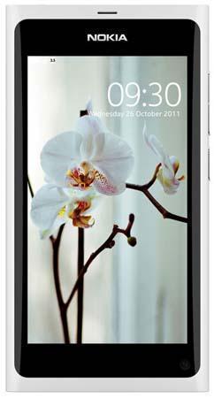 Смартфон Nokia N9 (Нокиа N9) белого цвета, фронтальный вид