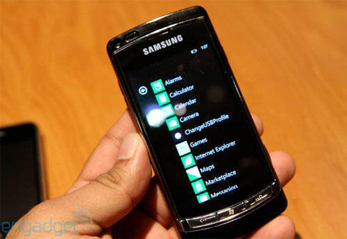 Прототип смартфона Samsung (Самсунг) на ОС Windows Phone 7 (Меню)