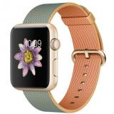 Apple Watch Sport 42mm Gold Aluminum Case with Gold/Royal Blue Woven Nylon (MMFQ2) - фото 1